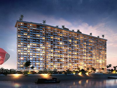 Hyderabad-highrise-elevation-night-view3d-real-estate-walkthrough-visualization-3d-Architectural-animation-services