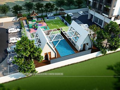 Hyderabad-play-ground-swimming-pool-parking-lavish-apartment-design-3d-real-estate-walkthrough-service-india
