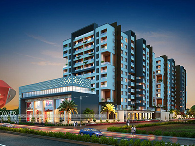 Hyderabad-township-evening-3d-view-architectural-flythrough-real-estate-3d-real-estate-walkthrough-animation-company