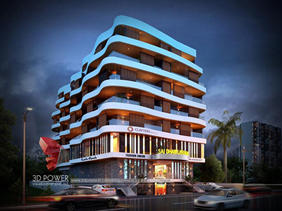 hyderabad-3d-model-architecture-3d-flythrough-service-3d-visualization-comapany-night-view-commercial-complex