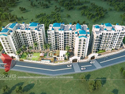 Hyderabad-3d-architecture-studio-3d-real-estate-walkthrough-freelance-company-studio-high-rise-township-birds-eye-view