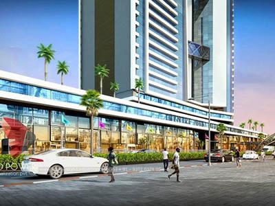 Hyderabad-3d-walkthrough-freelance-services-3d-real-estate-walkthrough-freelance-company-shopping-area-evening-view-eye-level-view