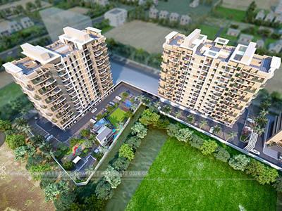 Hyderabad-High-rise-apartments-bird-eye-view-walkthrough-freelance-company-animation-services