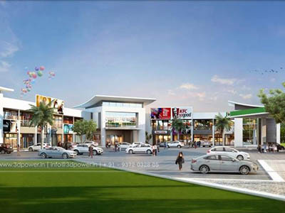 Hyderabad-apartment-walkthrough-freelance-3d-animation-service-3d-animation-shopping-area-day-view-eye-level-view