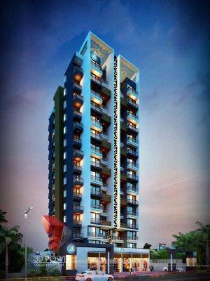 Hyderabad-virtual-walkthrough-freelance-3d-walkthrough-freelance-company-architecture-services-building-apartment-evening-view-eye-level-view