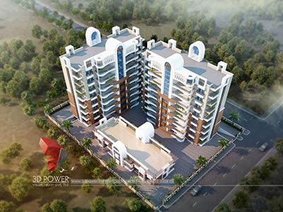Hyderabad-3d-Architectural-services-3d-real-estate-walkthrough-freelance-company-apartment-buildings-evening-view