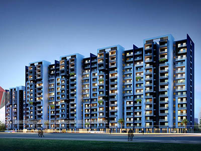 Hyderabad-Big-projrct-india-highrise-3d-elevation-evening-view3d-walkthrough-freelance-company-animation-3d-Architectural-animation-services