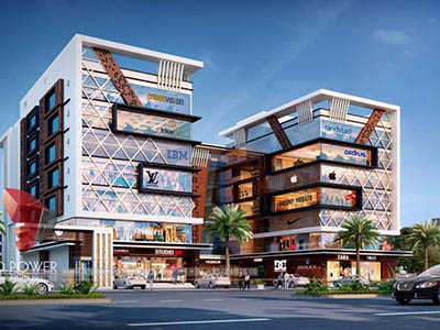 Hyderabad-3d-visualization-architectural-visualization-virtual-walk-through-comercial-complex-evening-view