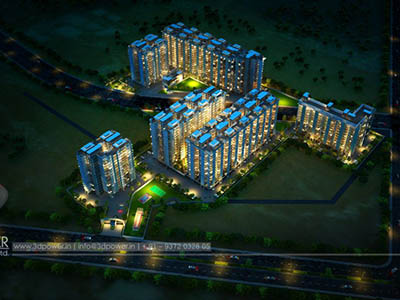 Hyderabad-Township-3d-rendering-evening-view-beutiful-Walkthrough-service-visualization-services