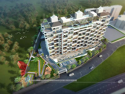 Hyderabad-architectural-visualization-3d-flythrough-service-company-apartments-birds-eye-view-evening-view-3d-model-visualization