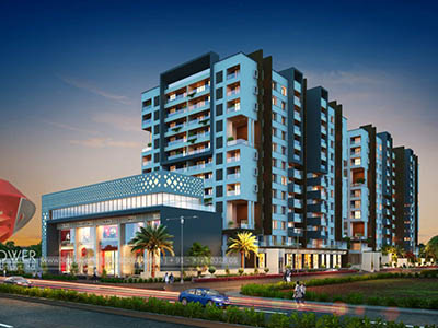 Hyderabad-township-evening-3d-view-architectural-rendering-real-estate-3d-Walkthrough-service-animation-company