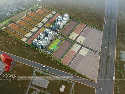 Indore-3d-flythrough-3d-visualization-apartment-rendering-townhsip-buildings-birds-eye-veiw-evening-view