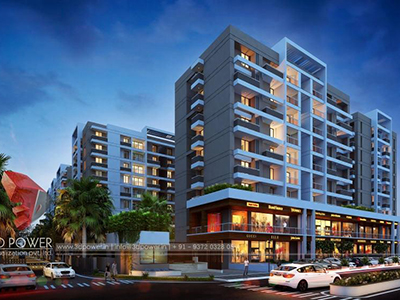 Indore-3d-flythrough-animation-services-services-flythrough-apartments-buildings-night-view-3d-Visualization