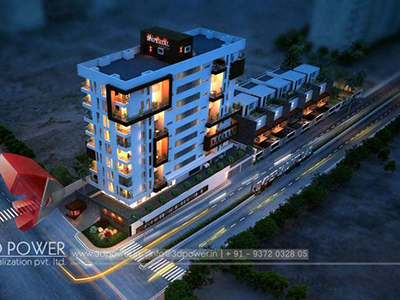 Indore-3d-flythrough-studio-apartments-photorealistic-renderings-real-estate-buildings-night-view-bird-eye-view