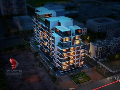 Kolkata-3d-animation-walkthrough-services-elevation-rendering-appartment-buildings-birds-eye-view-night-view
