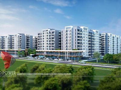 Kolkata-3d-architectural-visualization-Architectural-animation-services-township-day-view-bird-eye-view