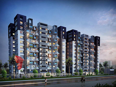Lucknow-apartments-studio-apartments-3d-visualization-elevation-apartment-rendering-panoramic-eveinging-view