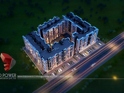 Nizamabad-3d-rendering-visualization-3d-Visualization-apartment-buildings-birds-eye-view-night-view
