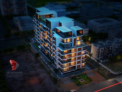 3d-animation-rendering-services-elevation-rendering-appartment-Pune-buildings-birds-eye-view-night-view