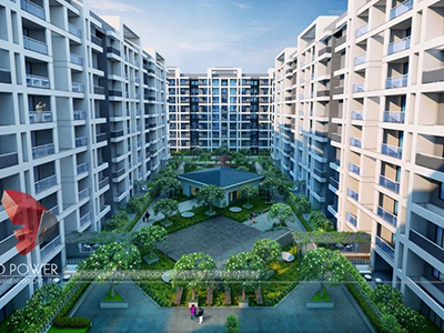 Pune-3d--model-architecture-elevation-rendering-s-township-panoramic-day-view