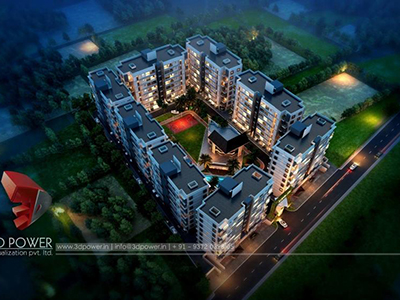 Pune-3d-real-estate-3d-rendering-company-animation-services-townships-night-view-birds-eye-view