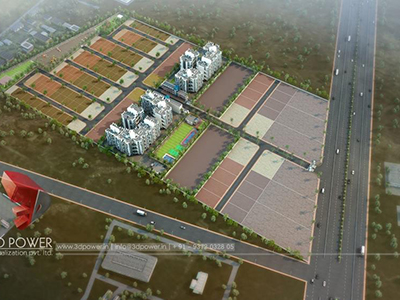 Pune-3d-rendering-company-3d-animation-apartment-rendering-townhsip-buildings-birds-eye-veiw-evening-view