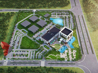 Pune-3d-rendering-services-3d-real-estate-rendering-company-industrial-project-birds-eye-view