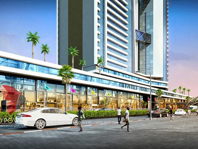 Pune-3d-rendering-services-3d-real-estate-rendering-company-shopping-area-evening-view-eye-level-view