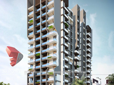 Pune-Elevation-front-view-apartments-flats-gallery-garden3d-real-estate-Project-rendering-Architectural-3drendering-company