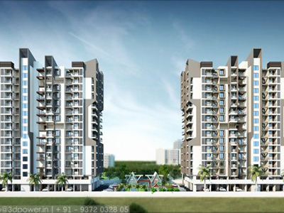 Pune-Township-front-view-apartment-virtual-flythroughArchitectural-flythrugh-real-estate-3d-rendering-company-animation-company