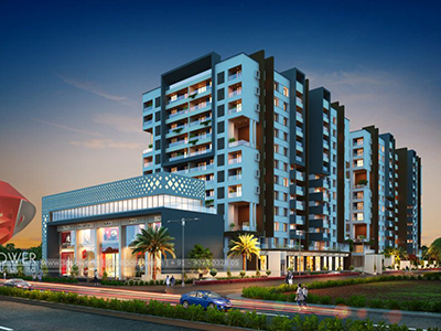Pune-township-evening-3d-view-architectural-flythrugh-real-estate-3d-rendering-company-animation-company
