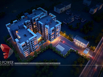 Pune-virtual-flythrough-3d-architectural-animation-3d-Architectural-animation-services-night-view-bird-eye-view