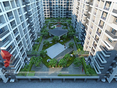 Pune-virtual-flythrough-apartment-Elevation-architectural-services-township-day-view-birds-eye-view