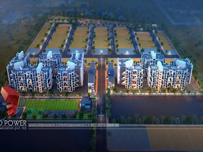 Pune-3d-visualization-service-3d-walkthrugh-visualization-township-birds-eye-view-night-view
