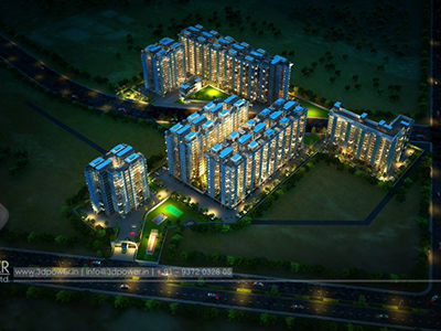 Pune-Township-3d-walkthrugh-evening-view-beutiful-3d-elevation-company-animation-services