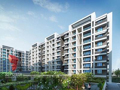 exterior-render-3d-walkthrugh-service-architectural-3d-walkthrugh-Pune-apartment-birds-eye-view-day-view