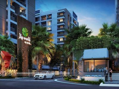 walkthrough-pune-Architecture-birds-eye-view-high-rise-apartments-night-view-virtual-rendering