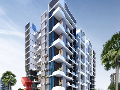 Pune-Architecture-3d-rendering-service-provider-animation-company-warms-eye-view-high-rise-apartments-night-view