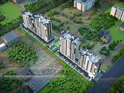 Pune-Bird-eye-townshipArchitectural-flythrugh-real-estate-3d-rendering-service-provider-animation-company