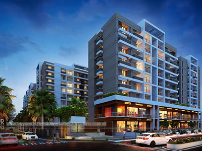 Pune-Side-view-shopping-complex-elevation3d-view-design