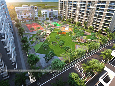 architectural-rendering-service-provider-3d-rendering-service-provider-buildings-apartments-birds-eye-view-day-view-Pune