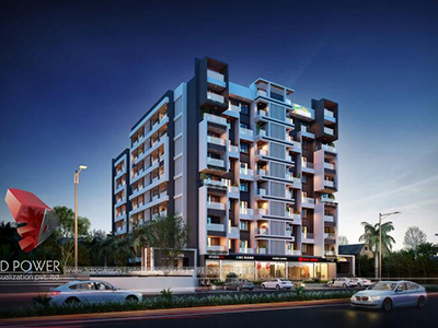 Pune-3d-visualization-comapany-companies-architectural-visualization-comapany-buildings-studio-apartment-night-view