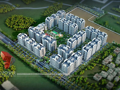 Pune-flythrough-companies-3d-architectural-visualization-comapany-townships-buildings-township-day-view-bird-eye-view