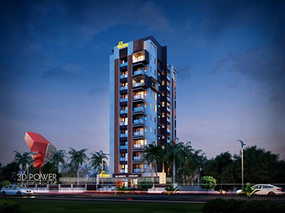 Pune-3d-architectural-drawings-services-virtual-walkthrough-freelance-high-rise-apartment-night-view