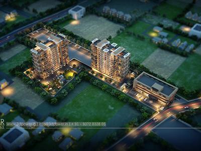 Pune-Bird-eye-view-township-playground-walkthrough-freelance-company-animation-services
