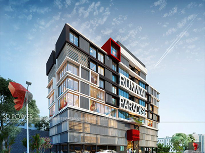 Pune-Shoping-complex-elevation-3d3d-walkthrough-freelance-company-animation-3d-Architectural-animation-services
