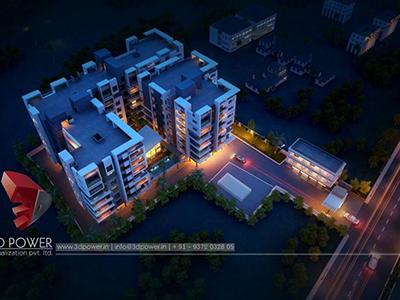Pune-virtual-walkthrough-freelance-3d-architectural-animation-3d-Architectural-animation-services-night-view-bird-eye-view
