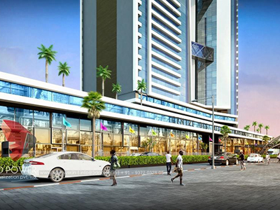 Pune-3d-walkthrough-services-3d-real-estate-walkthrough-shopping-area-evening-view-eye-level-view