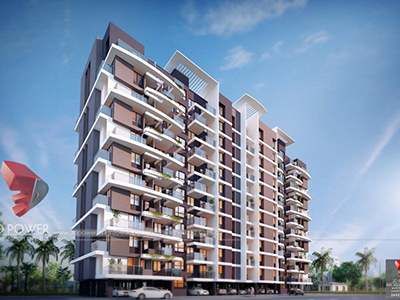Pune-Highrise-apartments-front-view-3d-model-visualization-architectural-visualization-3d-walkthrough-service-provider-company