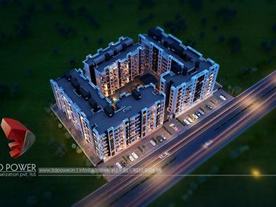 Sambalpur-3d-rendering-visualization-3d-Visualization-apartment-buildings-birds-eye-view-night-view